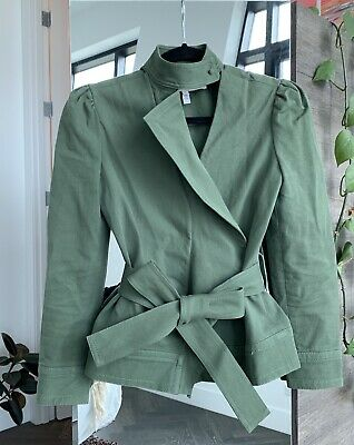 AU96.94 • Buy Derek Lam 10 Crosby Green Cotton Ruffle Twill Belted Jacket 0 / XS