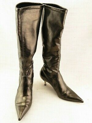 £50.64 • Buy Donald J Pliner Italy Leather Tall Stretch Pull On Boots Metal Heels US 6 M