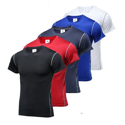 Mens Compression Tops Shirt Short Sleeve Under Base Layers Running Gym T-shirt • 5.99£
