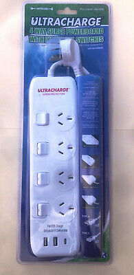 AU22 • Buy 4 Way Outlet Power Board Socket Surge 2 X 2.4A + 1 X 3A USB Individual Switches