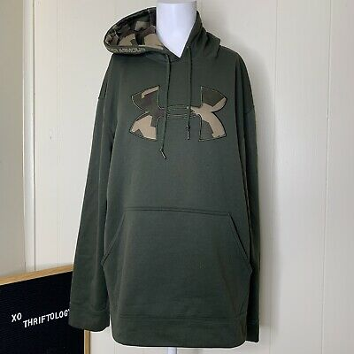Under Armour Army Green Camo Print Camouflage Pullover Hoodie Mens Medium M  • 14.30£