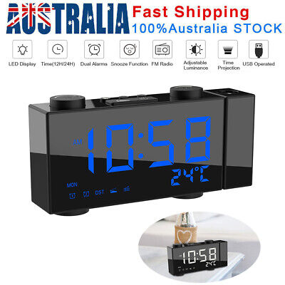 AU29.13 • Buy LED Digital Alarm Clock Projection FM Radio Time Temperature Projector Snooze AU