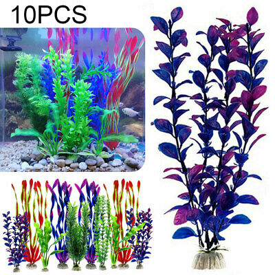 10x Artificial Aquatic Plant Large Aquarium Plastic Plants Fish Tank Home Decor • 11.33£