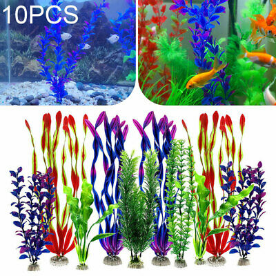 10x Artificial Aquatic Plants Set Large Aquarium Plastic Plants Fish Tank Decor • 10.95£