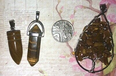 Job Lot Collection Of 3 X Tigers Eye Necklace Pendants & Dowsing Crystal Pieces • 6.99£
