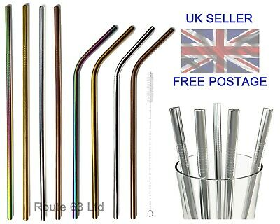 £3.95 • Buy Reusable Metal Straws Stainless Steel Eco-Friendly 8 Colours Cleaning Brush