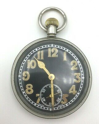 WWII Military Pocket Watch Dial Marked Swiss Made In Working Order • 115£