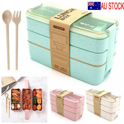 AU10.99 • Buy 3-Layer Bento Box Students Lunch Box Eco-Friendly Leakproof 900ml Food Container