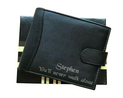 Mens Personalised Real Leather Black Wallet Liverpool Football Club Fans Gift • 15.99£