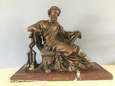 Antique Bronze Of The Greek Mathematician Archimedes • 795£