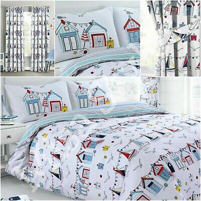 Nautical Beach Hut Sail Seaside Reversible Duvet Cover Bedding Set Pillowcase • 11.95£