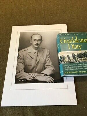 $29 • Buy USMC WW2  Guadalcanal Diary  Tregaskis Signed Portrait And 1st Edition Book