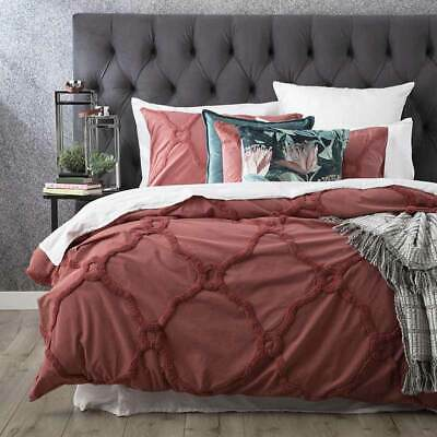 $ CDN108.44 • Buy RENEE TAYLOR Moroccan 100% Cotton Chenille Tufted Quilt Cover Set RED BRICK
