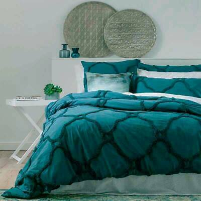 $ CDN113.19 • Buy RENEE TAYLOR Moroccan 100% Cotton Chenille Tufted Quilt Cover Set TWILIGHT