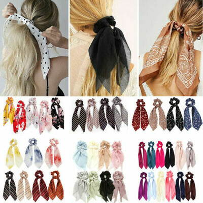AU1 • Buy Solid Floral Bow Scrunchie Hair Band Elastic Hair Ties Rope Scarf Accessories