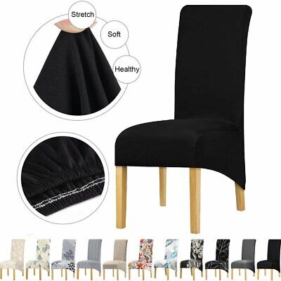AU36.99 • Buy Dining Chair Covers Large Size Slipcovers Washable Banquet Wedding Party 4/6 Pcs