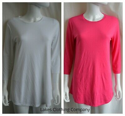 M&S Women T Shirt Long Top Round Neck 3/4 Sleeve Longline Blouse White Pink 8-24 • 4.99£