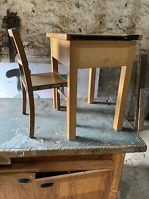 Child's Single School Desk & Chair Recycled Salvage  Homework • 60£