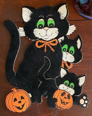 $ CDN18.93 • Buy Vintage Halloween CUTE 3 Fuzzy Black Cats & Jack O Lanterns Cut Out Decoration