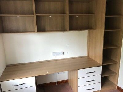 Wall Cabinets, Wooden, Gloss Doors, Desk Unit • 80£