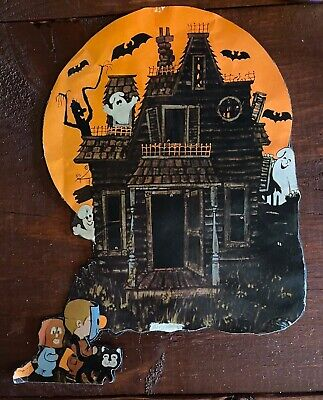 $ CDN13.52 • Buy Vintage Halloween Haunted House Ghosts Bats Trick Or Treaters Cut Out Decoration