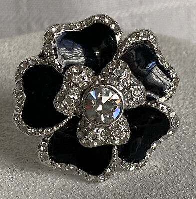$ CDN41.15 • Buy Lia Sophia Black Dahlia Ring Size 11 Silver Tone Enamel Flower Cz Statement Euc