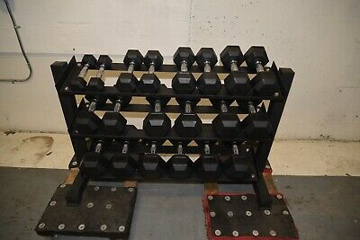 $ CDN2411.10 • Buy 5-50 Rubber Hex Dumbbells With 3 Tier Rack 5 Pound Increments