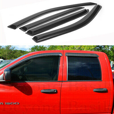 $27.49 • Buy For 2002-2009 Dodge Ram Quad/Crew Cab 4PC Smoke Door Window Visor Rain Guards