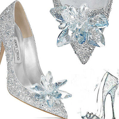 Ladies Silver Cinderella Wedding Party Diamond Pumps Crystal High Heels Shoes UK • 12.99£