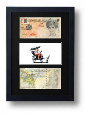 £19.95 • Buy Two Framed Mounted Di Faced Tenners £10 Note Banksy Rickshaw Boy Presentation