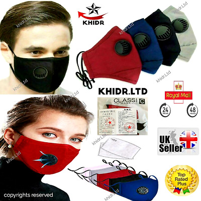 Face Mask Covering Washable Reusable Cotton Cloth 5 Layers PM 2.5 Filter 1 Valve • 3.79£