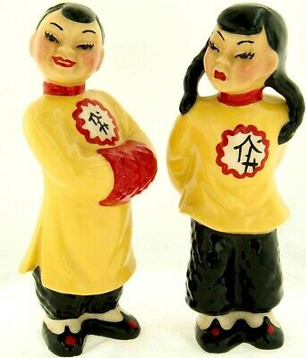 $53.99 • Buy 1950 Ceramic Arts Studio Chinese Man & Woman Smi-Li & Mo-Pi Harrington Figurines