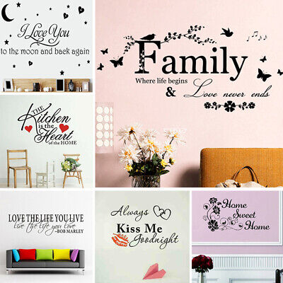Quote Mural Words Art Vinyl Wall Sticker Home Kitchen Room Decal Decor Family C • 2.39£