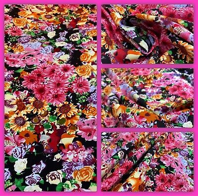 """""""Indian Summer""""  Printed, Rayon Viscose Floral Print Dress Fabric, 56"""" Wide, • 5.50£"""