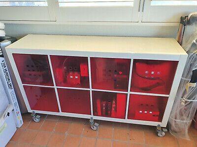 AU10.50 • Buy Ikea Flysta Shelving Unit - White - With Red Cabinet Inserts W150 X H90 X D40