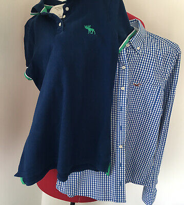 HOLLISTER ABERCROMBIE FITCH WOMENS TOPs SHIRT POLO  SZ M BLUE CHECK 2 • 8£