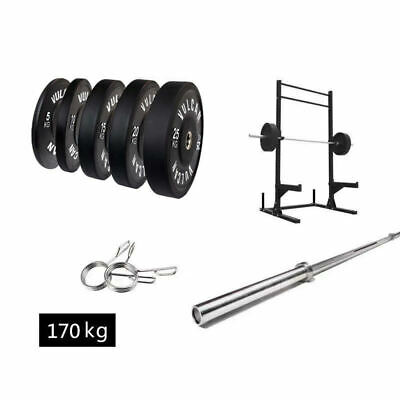 AU2099 • Buy Squat Rack, Olympic Barbell (20kg/ 7ft), 150kg Black Bumper Plates