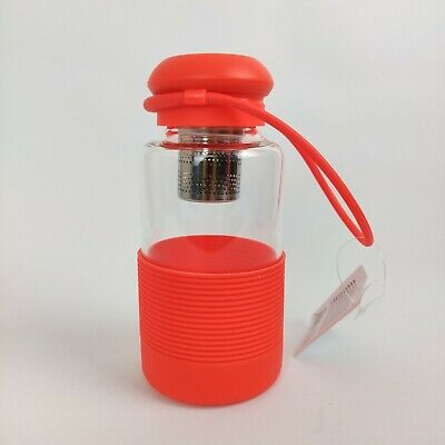 Glass Flask Water Bottle Tea Infuser With Silicone Sleeve And Strap BPA Free • 12.90£