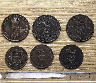 6x Mixed Jersey And Guernsey Victoria Coins (my Ref #16) • 3.70£