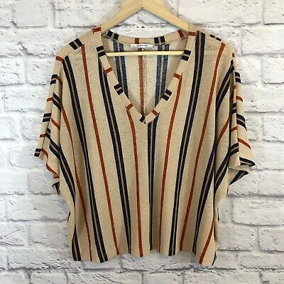 $26 • Buy Zara Woman Size Large Shirt V-Neck Striped Gauze Short Sleeve Womens *READ*