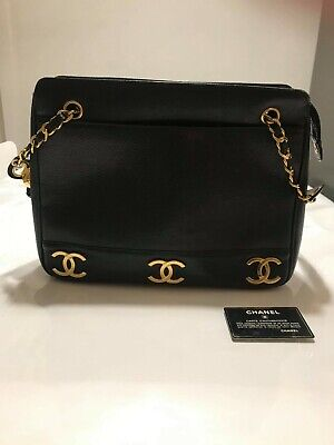 AU2100 • Buy Chanel Caviar Skin 6 CC Mark Plate Tote Bag Black