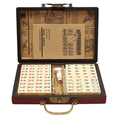 Portable Chinese Mahjong Box Rare 144 Vintage MahJong Set Travel Party Game • 19.99£