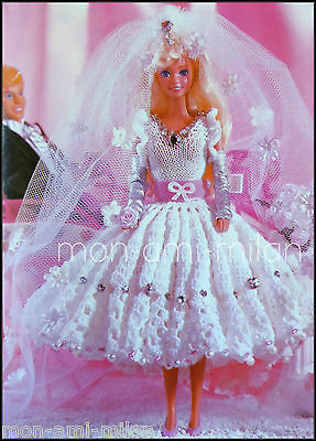 Barbie Sindy Dolls Clothes Knitting/Crochet Pattern Photocopy Wedding Dress Gown • 2.99£