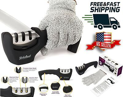 $28.99 • Buy Professional Kitchen Knife Sharpener Diamond System Kit With Cut-Resistant Glove