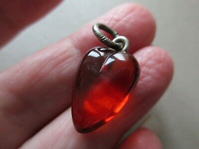 Antique Vintage Edwardian Silver Amber Witches Heart Fob Charm Pendant Necklace • 98£