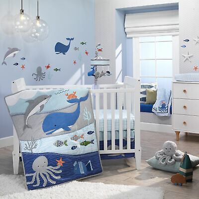 $159.99 • Buy Lambs & Ivy Ocean Blue 4-Piece Baby Crib Bedding Set - Blue, White, Aquatic