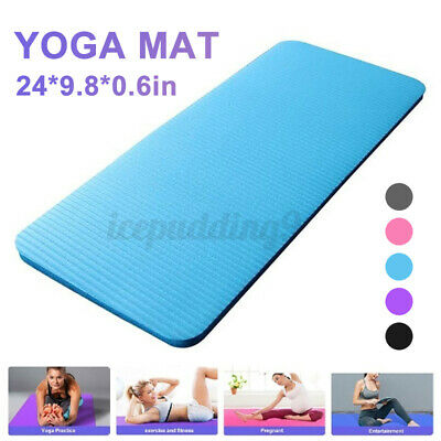 AU13.99 • Buy 15mm Non-Slip Yoga Mat Exercise Fitness Pilates Camping Gym NBR Meditation  Pad