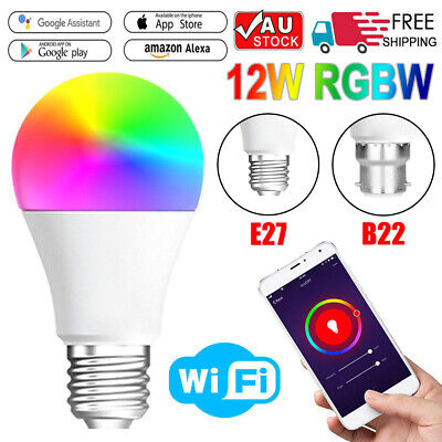 AU17.99 • Buy 1PC B22 E27 WiFi Smart LED Light Bulb Globe For Alexa Google Home 12W RGB Colour