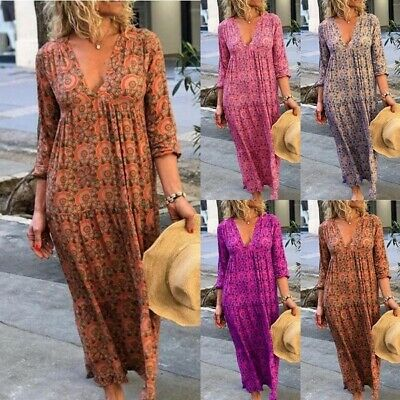 AU26.99 • Buy Women Floral Tribal Boho V-neck Loose Oversized Maxi Beach Party Kaftan Dress