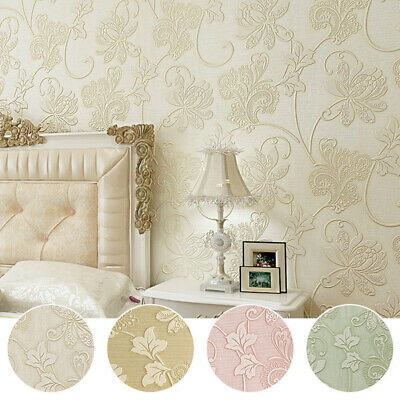 3D Embossed Wallpaper Victorian Damask Floral Pattern Non-woven Wall Paper Roll • 7.59£